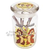 〔小禮堂〕迪士尼 奇奇蒂蒂 圓形透明玻璃密封罐收納罐《M.黃.楓葉》糖果罐.玻璃罐 4714581-08418