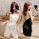 洋裝 洋裝小禮服夏氣質赫本風性感低胸v領心機小黑裙子露背吊帶洋裝 韓語空間