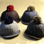 毛呢條紋騎馬棒球帽-5色【E297152】