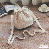 斜跨單肩小包迷你水桶包清新森系蕾絲包ins休閒百搭帆布包女文藝