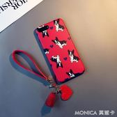 卡通愛心鬥牛犬iphone7 plus手機殼蘋果6s矽膠8個性掛繩X紅色女潮 莫妮卡小屋