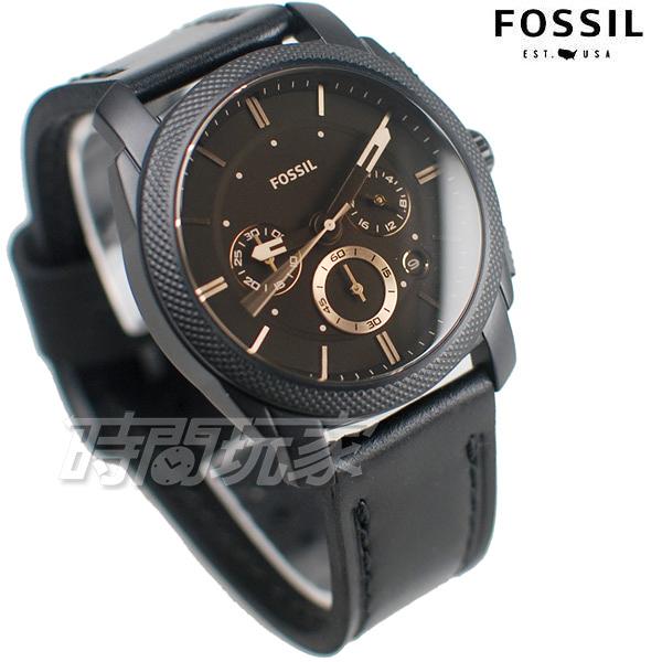 FOSSIL 公司貨 MACHINE 三眼錶 計時 咖啡面盤 真皮 男錶 防水手錶 IP黑電鍍 FS5586