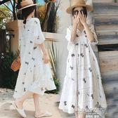 孕婦夏裝2018新款中長款短袖棉麻孕婦洋裝兩件套時尚款寬鬆裙子