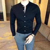 英倫立領修身男士商務休閒長袖素面襯衫 簡約純色緊身精神小伙襯衫