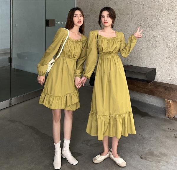 出清388 韓國風木耳邊領果綠荷葉邊下擺顯瘦長袖洋裝