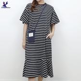 【秋冬新品】American Bluedeer - 條紋荷葉洋裝 二色