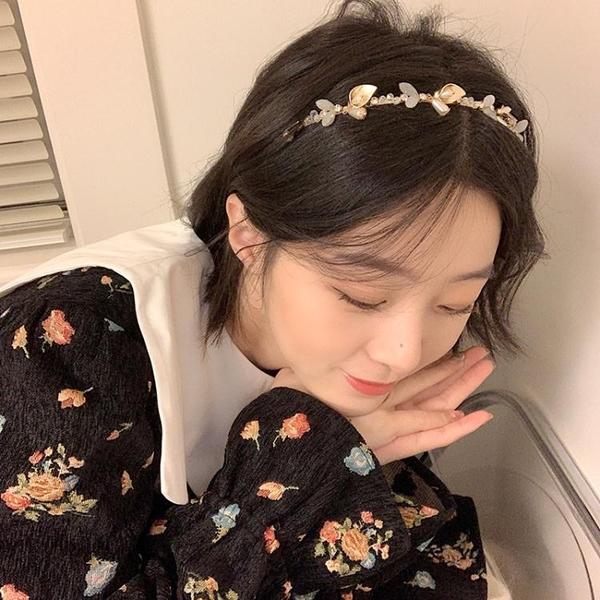 春季仙氣珍珠髮箍網紅2021年新款頭箍外出百搭髮卡早春髮飾頭飾 小天使