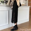 牛仔半身裙 半身裙冬天配毛衣裙子仙女超仙森系高腰復古設計感抽繩A字牛仔裙  【618 大促】