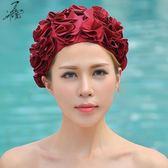 女泳帽瓣花朵成人高檔護發泳帽