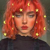 短假髮 假髮女亮橙色短捲髮網紅街拍空氣劉海蓬鬆梨花頭圓臉梨花頭假髮套