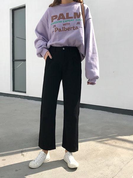 闊腿褲 春季新款韓版黑色褲子學生網紅寬鬆高腰百搭牛仔褲女裝闊腿褲 夢藝家