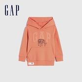 Gap男幼童 碳素軟磨系列 法式圈織童趣印花連帽休閒上衣 861014-橙色