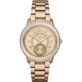 Michael Kors MK 羅馬風情晶鑽小秒針手錶-金/40mm MK6287