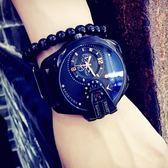 潮流潮牌街拍歐美手錶男女學生中性大錶盤皮帶石英錶 igo 玩趣3C