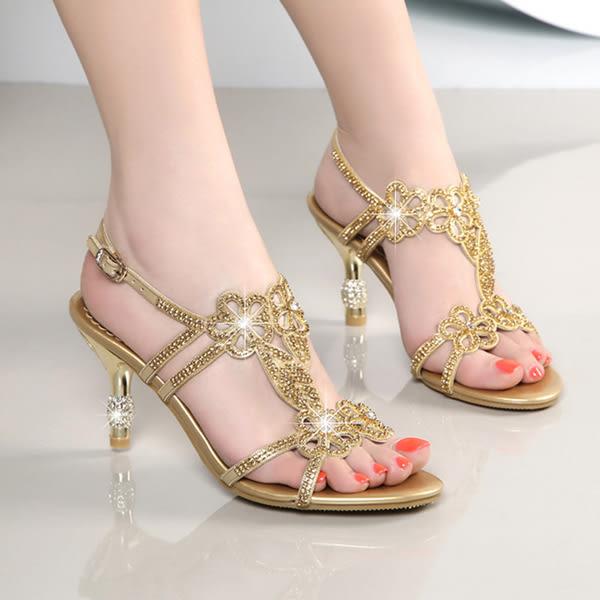水鑽鑲鑽涼鞋 女高跟細跟羅馬鞋【多多鞋包店】z2322