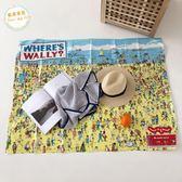 【中秋好康下殺】野餐墊外貿出口日本威利在哪里趣味漫畫編織沙灘墊野餐墊