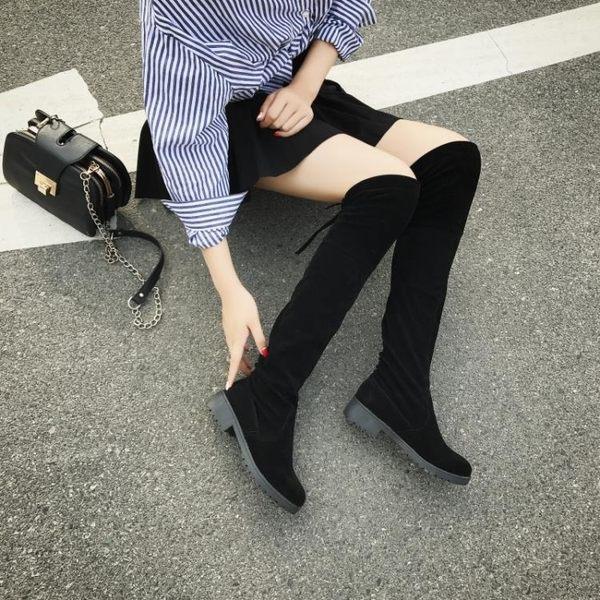 過膝靴女靴長靴冬季新款女鞋馬靴加絨棉靴子長筒靴平底高筒靴   LannaS