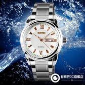 手錶 男士潮流時尚鋼帶石英防水手錶個性前衛指針日歷錶