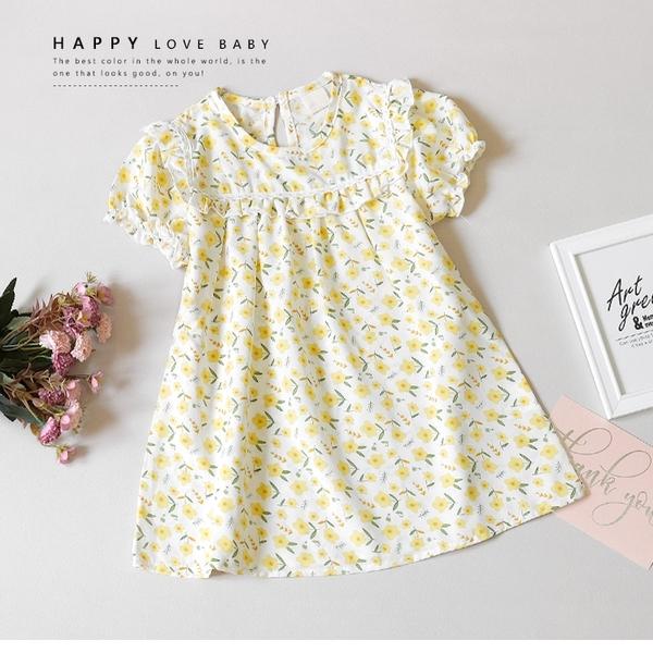 嫩黃小碎花薄雪紡洋裝 涼爽 透氣 女童 春夏 傘裙 洋裝 連身裙 長版