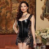 性感女王裝制服漆皮蕾絲胖mm大碼情趣內衣極度誘惑SM緊身束身衣『摩登大道』