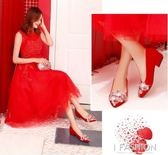 婚鞋女2018新款紅色高跟鞋粗跟大碼結婚敬酒秀禾鞋平底孕婦新娘鞋·Ifashion