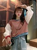 袖縮口上衣 小個子高腰衛衣女韓版寬鬆短款百搭長袖條紋上衣女士春秋季 coco