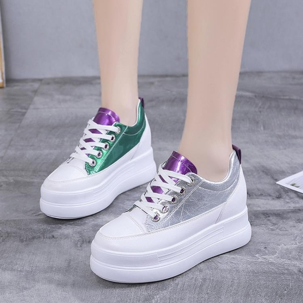 內增高小白鞋女2020秋季韓版百搭學生坡跟單鞋網紅鬆糕厚底休閒鞋「時尚彩紅屋」
