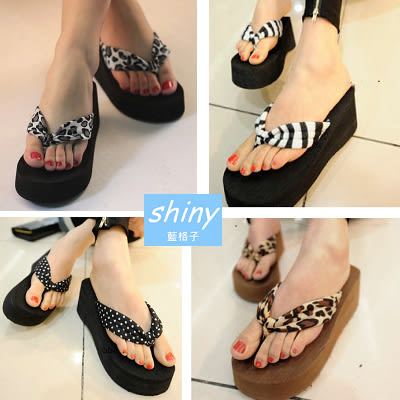 【X015】shiny藍格子-春夏時尚.厚底夾腳沙灘松糕坡跟涼拖鞋