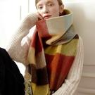羊毛披肩-加厚蓬鬆彩色格子女圍巾73wq6[時尚巴黎]