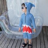 兒童泳衣 兒童泳衣男童鯊魚連體游泳衣女孩1-5歲寶寶海邊防曬溫泉度假泳裝 七色堇