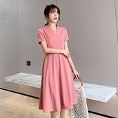 短袖洋裝-V領A字裙擺大碼女連身裙74az24【巴黎精品】