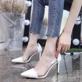 高跟鞋女2019新款黑色百搭韓版網紅小清新高跟鞋少女春季細跟尖頭單鞋子女 【多變搭配】