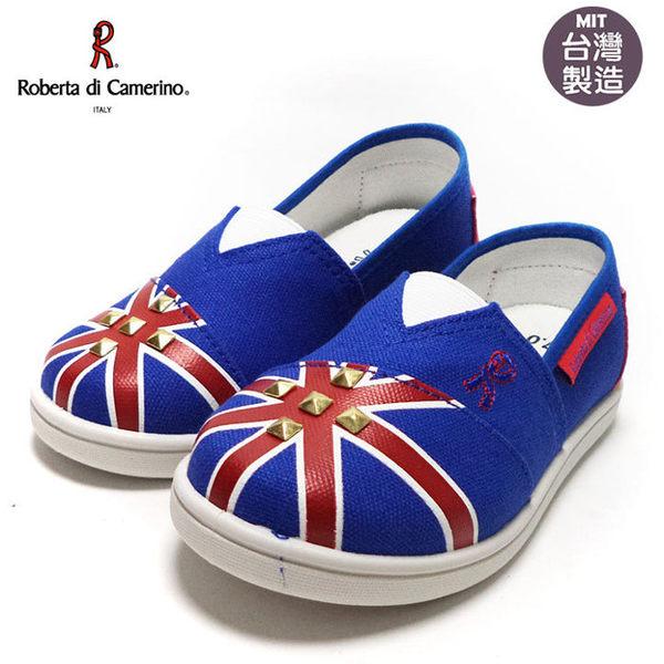 童鞋 Roberta諾貝達鉚釘英國風懶人休閒鞋.帆布鞋 寶藍17-22號~EMMA商城