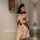法式小眾甜美初戀公主短裙氣質女神范泡泡袖紅色格子洋裝夏天女 米娜小鋪