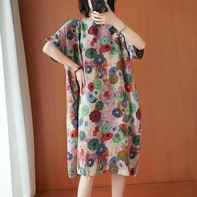 胖妹妹大碼棉麻洋裝連身裙~8795# 大碼胖MM棉麻復古文藝民族風連身裙 5F005衣時尚