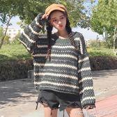 秋季女裝韓版原宿風圓領撞色條紋寬鬆套頭毛衣長袖針織衫上衣外套 莫妮卡小屋