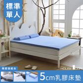 House Door 大和防螨布乳膠床墊5cm保潔超值組-單人3尺天空藍