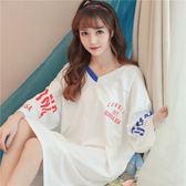 睡衣女夏時尚女士甜美純棉V領韓版夏季中袖薄款清新學生寬鬆睡裙