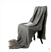 藍色灰色咖色棉麻繫列床尾搭巾意式極簡搭巾樣板房間酒店午休蓋毯YYP  交換禮物