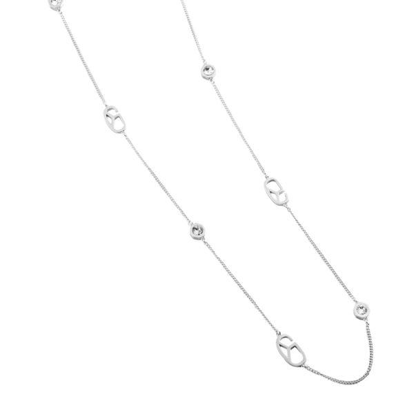 項鍊 Necklace Monogram Diamond 銅鍍14K白金 施華洛世奇水鑽