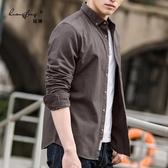 長袖襯衫襯衫男秋季長袖修身韓版潮流帥氣襯衣工裝休閒男士寸外套純棉青年 7月特賣