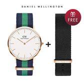 DW 手錶 官方旗艦店 40mm玫瑰金框 Classic 經典藍綠織紋錶 - Daniel Wellington