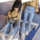 女童牛仔褲春秋款長褲喇叭褲