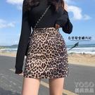 夏復古豹紋包臀半身裙女高腰一步裙性感緊身顯瘦防走光 洛小仙女鞋