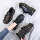 厚底增高鞋女小皮鞋女英倫復古學院風黑色百搭秋冬季新款學生系帶厚底女鞋