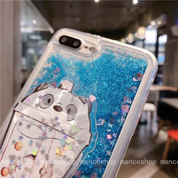 (贈掛繩)蘋果 養樂多i6plus SE 液態流沙殼XR i8plus i7手機殼iPhoneX XSmax 防摔殼i11Promax 透明iPhone11軟殼
