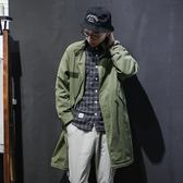 中長款風衣男青年潮流腰部抽繩外套【不二雜貨】