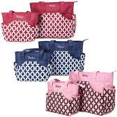 STAR BABY-簡約歐風圈圈款 萬用提包 防水材質 單肩背包 媽媽包 超值大/小兩件組