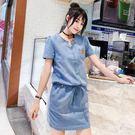 牛仔洋裝連身裙女2019夏季新款韓版修身短袖薄款連體包臀一步A字裙子 PA7505『男人範』
