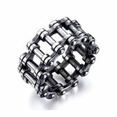 316L醫療鋼 復古黑色 鏈條 寬版戒指-銀 防抗過敏 不退色